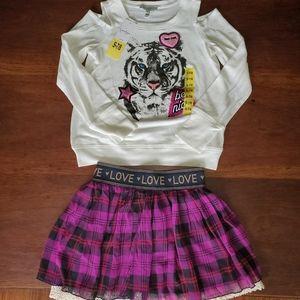 Jessica Simpson Girls 2 Pc Top & Skirt, Sz 7/8 S